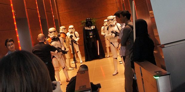 Vader and his Stormtroopers await the arrival of the guests of honour.
